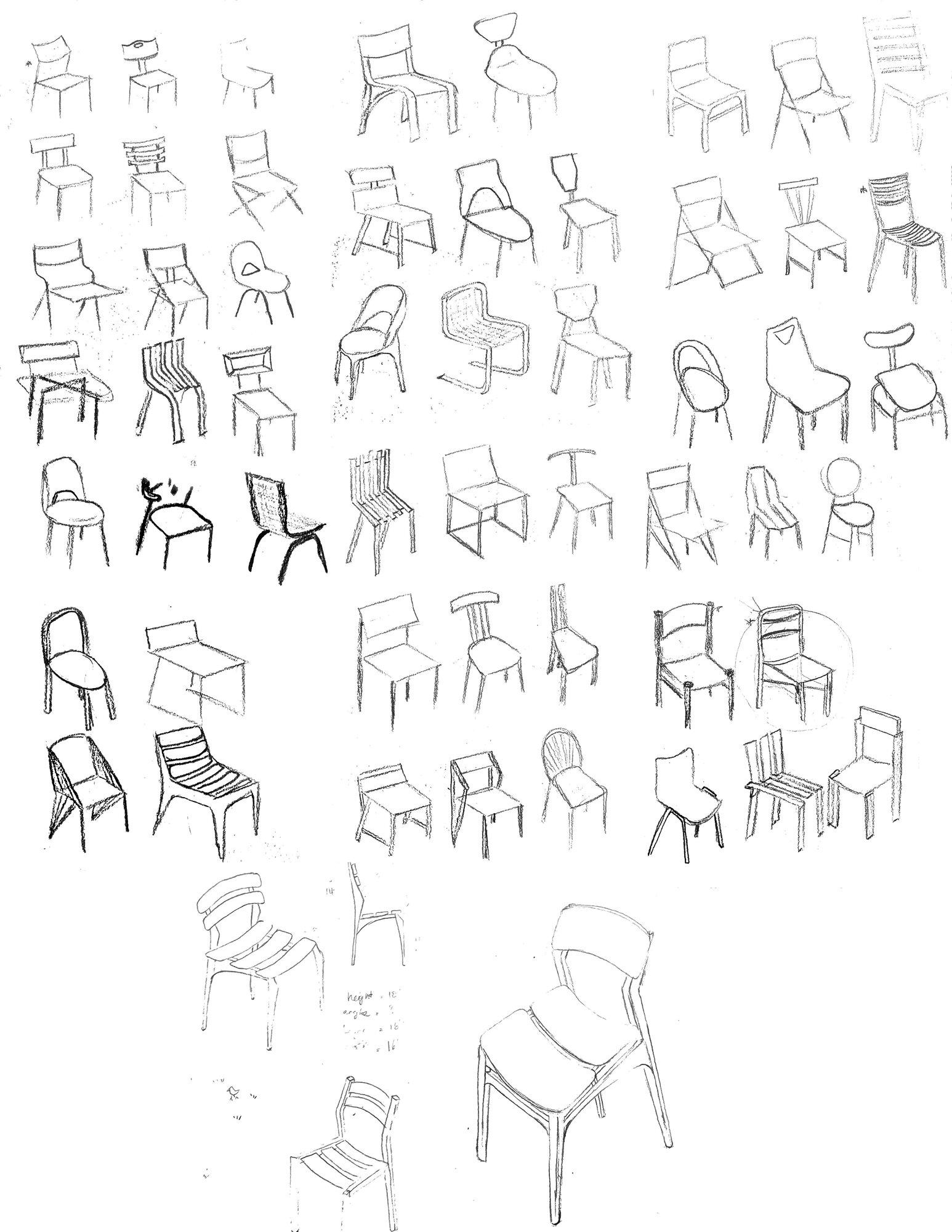 Neda Moshg Foroush Chair Sketches