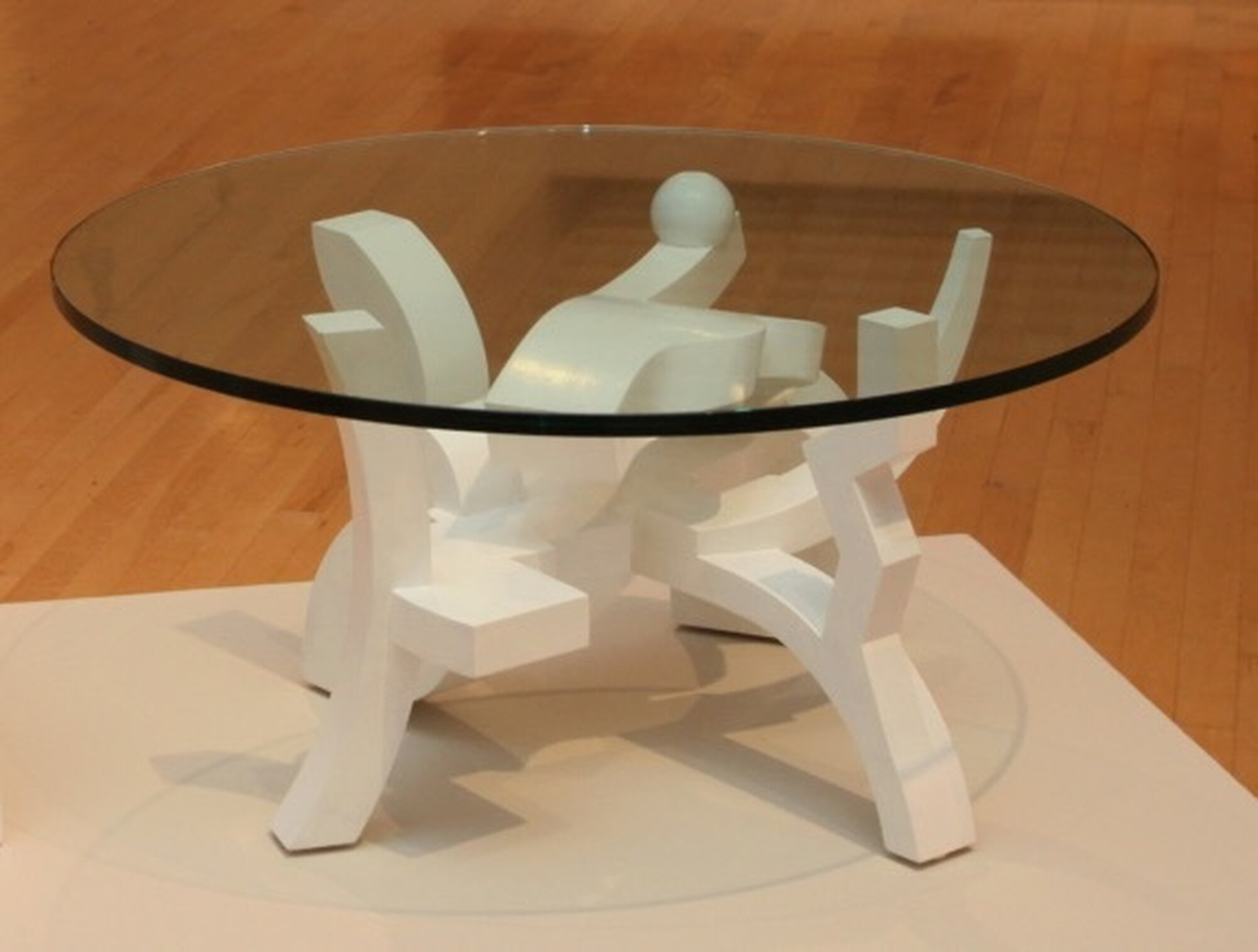 GKB White Glass Table