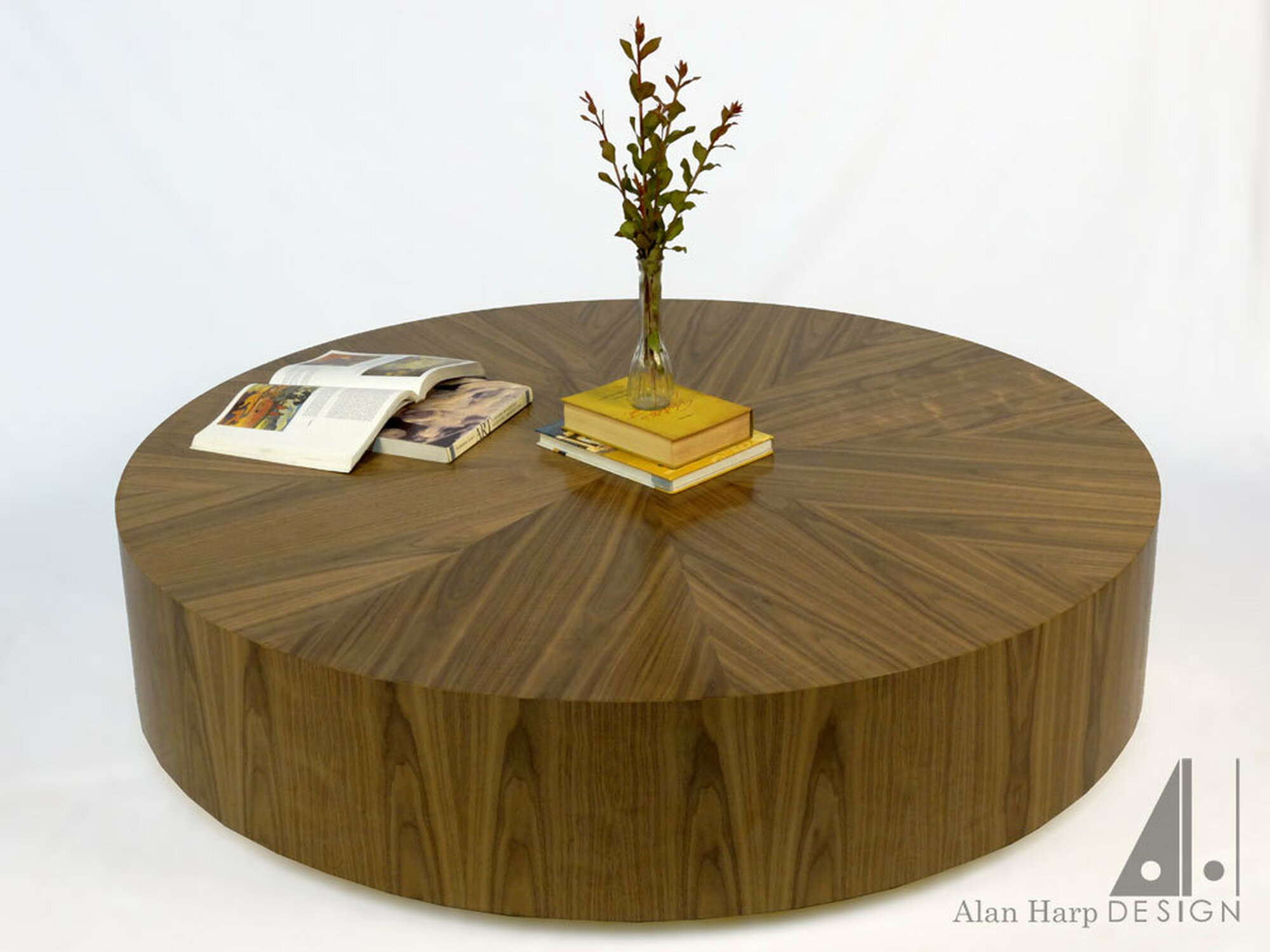 "60"" round walnut table"