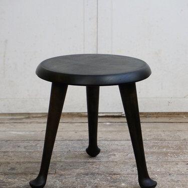 Ebonized pad foot child's stool