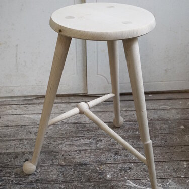 Bleached maple ball foot stool