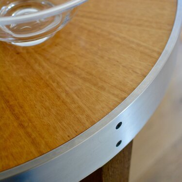 Contemporary Dining Set Demilune Side Table Detail