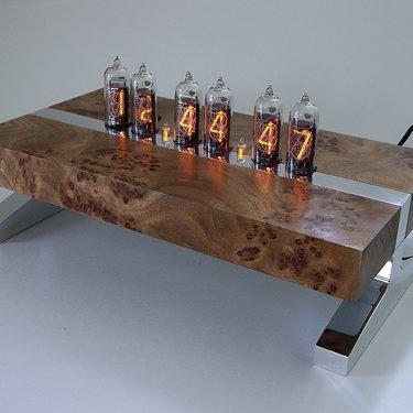 Siberian elm burl nixie tube clock