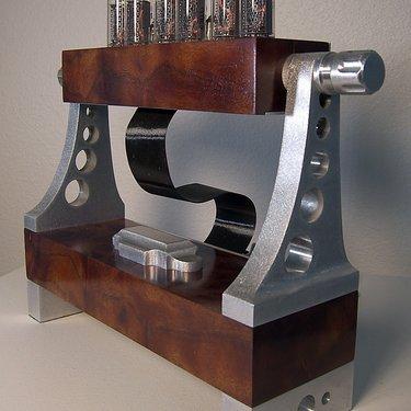 Camphor burl nixie tube clock