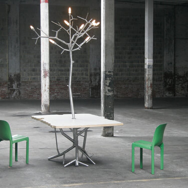 LiveEdge Dining Table with newGROWTH Chandelier