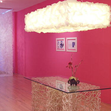 Knoop dining table, Puff chandelier, and Peep screen; Bridge Gallery installation, 2008