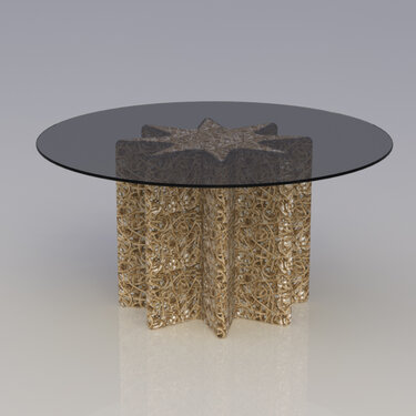 Knoop, fluted rope dining table concept rendering, 2014