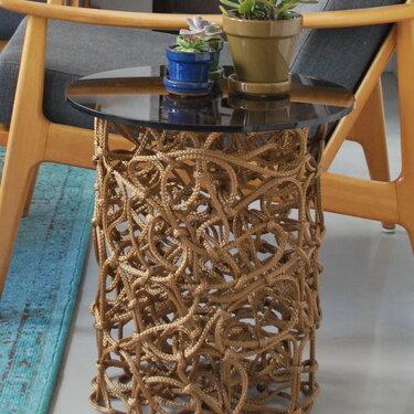 Knoop, round rope sidetable in brown, 2014