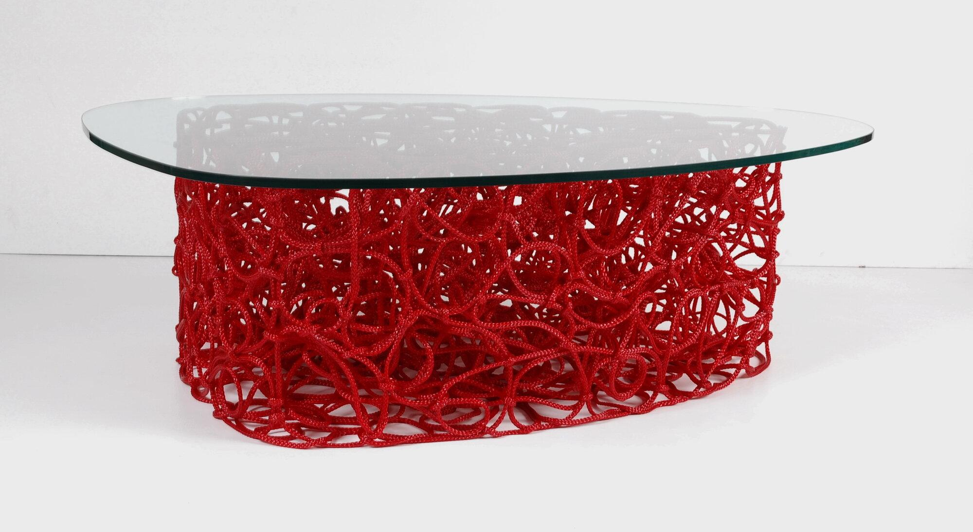 Knoop, freeform rope coffee table in red, 2010