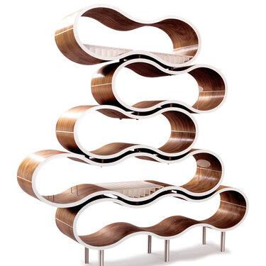 Modular Wavy Shelves in Walnut