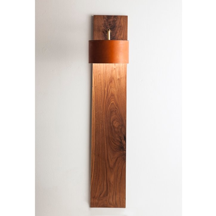 Walnut and Leather Wall Sconce