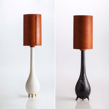 Tear Drop Lamp in Bone and Charcoal