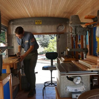int. view Tabitha Babbitt, US Craft Bureau Mobile Woodshop